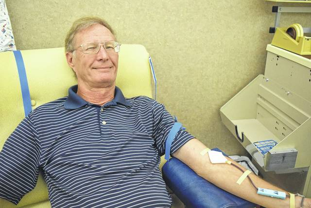 Tom Evilsizor, a 1966 graduate of Sidney High School, recently made his 100th blood donation.