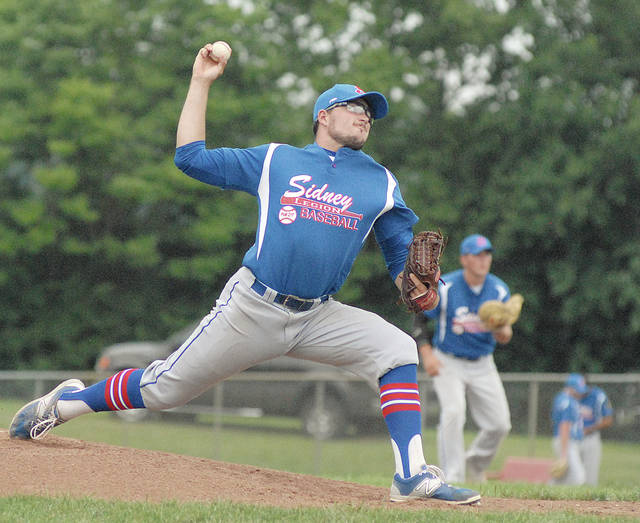 Anthony Weber | AIM Media Josh Nixon delivers a pitch for the Sidney Post 217 legion baseball team in its win against Troy Post 43 Wednesday at Duke Park.