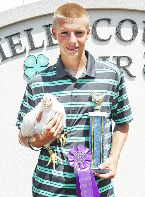 Tanner Robbins, 17, of Anna, son of Rod and Michelle Robbins, a member of McCartyville Producers, won grand champion single fryer at the fair.