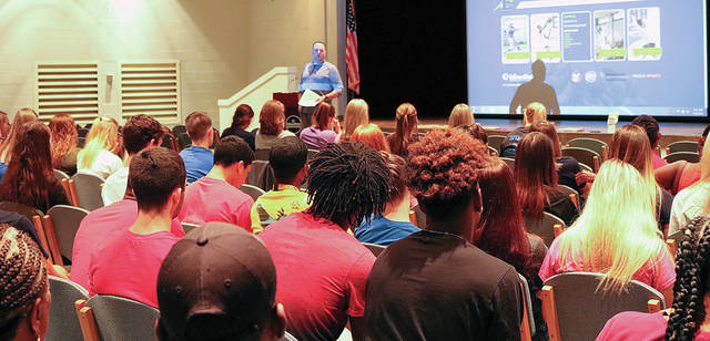 Edison State Athletic Director Nate Cole addresses student-athletes during the third annual Athletics Day held recently at Edison in Piqua.