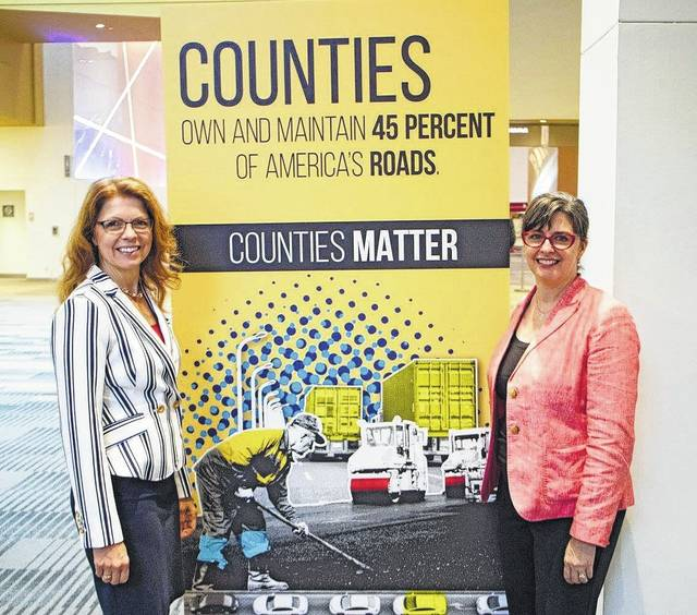 Shelby County Commissioner Julie Ehemann, left, with Cheryl Subler, managing director of policy for the County Commissioner's Association of Ohio.