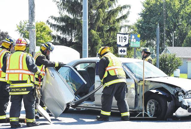 Van Buren Township firefighters clean-up car parts after a collision involving a RV at the intersection of state route 119 and state route 29 around 3:30 p.m. Tuesday, August 8. Anna rescue and Shelby County Sheriff's deputies also responded. One person was taken to a hospital.