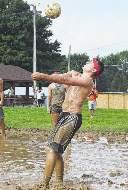 Brent Goettemoeler, of New Bremen, competes in the 2016 Bremenfest mud volleyball tournament. This year's tournament is planned for Saturday, Aug. 19, beginning at 10 a.m.