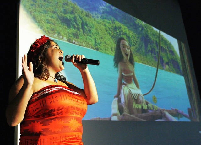 Fairlawn Local Schools student Annie Stemen, 17, of Sidney, daughter of Tony and Amy Stemen, sings a song as the Disney charatcer Moana at Princess Spa Day at Fairlawn Local Schools Sunday, Sept. 24. Money raised from the event will go to the Fairlawn music department.