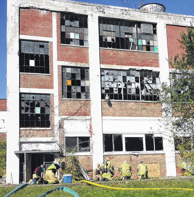 Sidney Firefighters respond to an arson fire at Wagner building on Fair Road, Thursday, Oct. 26, at 12:16 p.m. It took firefighters about 15 minutes to put out the fire which had set off a fire alarm in the abandoned building. Lockington and Anna firefighters also responded to the scene.