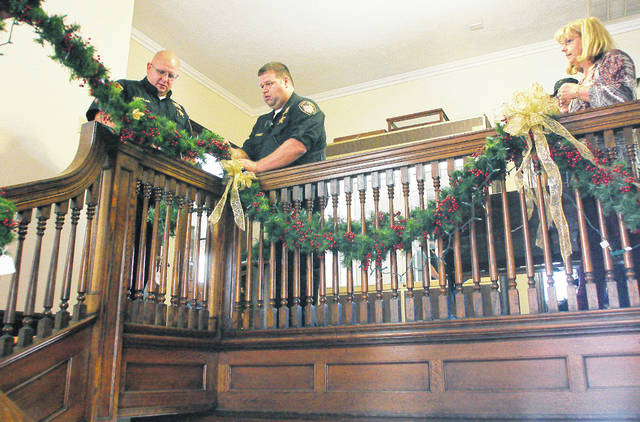 hanging christmas decorations at the ross historical center are left to right shelby county - Ross Christmas Decorations
