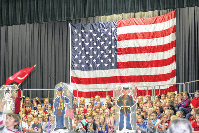 Students at Anna Elementary School saluted the local veterans with a program at the school Thursday. The celebration was held in advance of Veteran's Day, which is Saturday. Another photograph from the event is on Page 5.