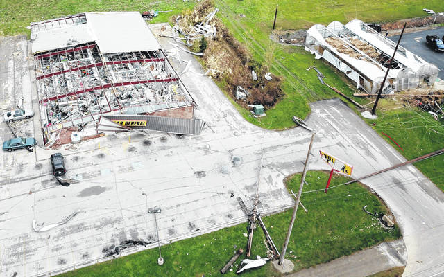 Dollar General of Celina was one of the main buildings hit in the storm on Sunday night in Celina. The entire roof was torn off and the store was completely destroyed inside.