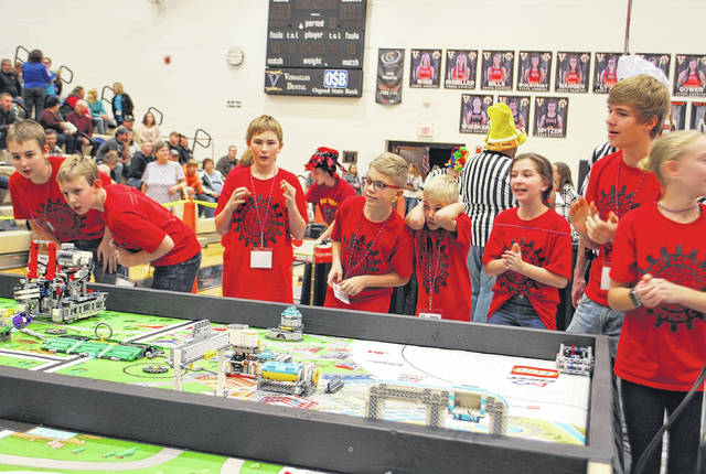 The Fort Loramie Lego Robotics Club Thunderbots, from Fort Loramie Local Schools, compete in the First Lego League Regional Qualifier tournament in Versailles, Saturday, Nov. 11. The team took top honors and will advance to district competition.