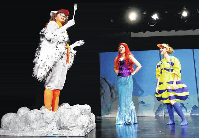"Practicing for a Botkins Local Schools production of ""The Little Mermaid"" on Tuesday, Nov. 7, are, left to right, Olivia Ewry, as Scuttle, 18, of Wapakoneta, daughter of Patrick and Shelly Ewry, Jessica Haywood, as Ariel, 17, of Sidney, daughter of Tim and Jill Haywood, and Danielle Schneider, as Flounder, 18, of Botkins, daughter of Andy and Julie Schneider."