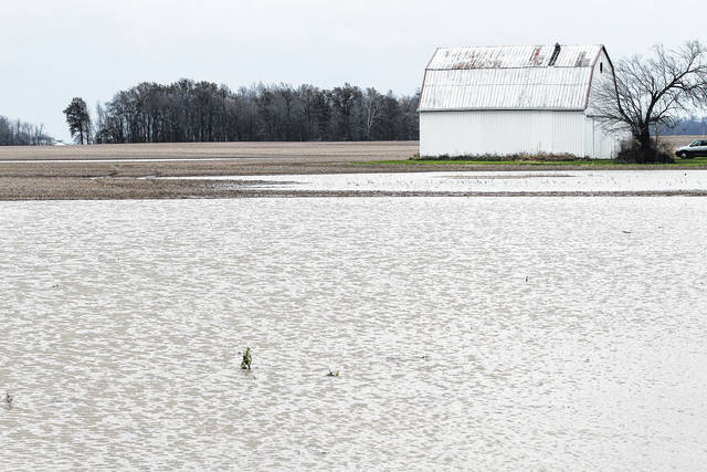 Water covers parts of a field along Wones Road just south of state Route 274 around 1p.m. Sunday, Nov. 19.