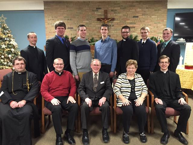 Catholic seminarians from the Archdiocese of Cincinnati received scholarships in 2016 from the North Deaneries Seminarian Fund. Front row: Matthew Keller, Maria Stein; Deacon David Doseck, Botkins; Melvin and Mary Ann Stucke, Versailles (donors); Deacon Peter Langenkamp, Coldwater. Back row: Jarred Kohn, Philothea; Greg Evers, St. Rose; Ethan Hoying, Russia; Elijah Puthoff, Russia; Aaron Hess, Coldwater; Adam Berning, McCartyville; Patrick Blenman, Sidney. Not pictured: Zach Cecil, Piqua; Loren Hein, Celina; Brother Bernard Knapke, St. Henry; David Morand, Sidney; David Slonkosky, Minster; Joseph Stickel, Russia; Nicholas White, Greenville.