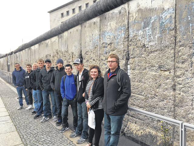 Pictured are the Upper Valley Career Center students who participated in the German American Apprenticeship Partner program at the Berlin Wall, including, left to right, Blake Ike, Kaeden Reier, Justin Meyer, Nathan Hausfeld, Kyle Mills, Mitchell Hueing, Andrew Highman, Mason Schaffer, Rachel Karnehm, and Levi Lavy.