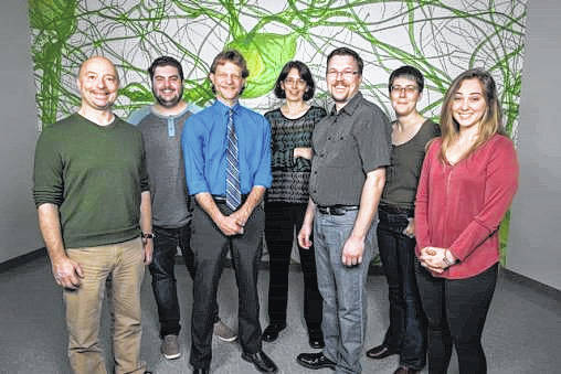 From left: The Neuro Lab team includes Christopher Wyatt, Ryan Rakoczy, Thomas Brown, Kathrin Engisch, Patrick Sonner, Mandy Hanes and Abby Schmidt.