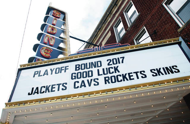The Historic Sidney Theatre gives a shout-out to all four of Shelby County's playoff bound football teams.