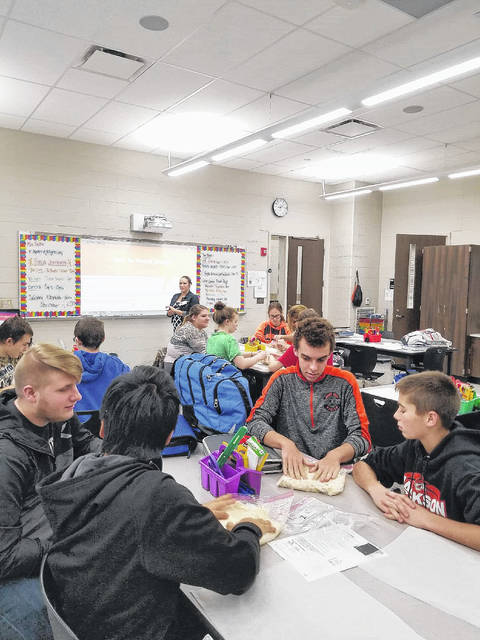 "Jackson Center students participating in ""Breads of the Harvest,"" a 4-H in the Classroom program."