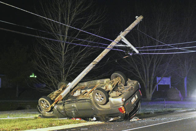 A vehicle struck a utility pole on Millcreek Road just before its intersection with Creekside Court at around 6 p.m. Tuesday, Dec. 5. Two people were in the vehicle. Both sustained minor injuries and were being transported by private vehicle to the hospital. The driver said they lost control after swerving to miss a deer. The Shelby County Sheriff's Office responded to the crash and was keeping people away from the crash until electricity could be shut-off to the utility pole.