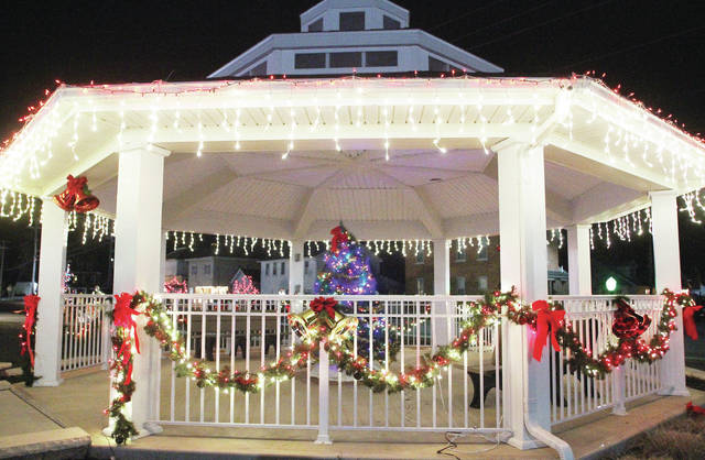 COUNTDOWN TO CHRISTMAS: There are 16 days until Christmas and the Fort Loramie gazebo stands covered in holiday splendor, Thursday, Dec. 7.