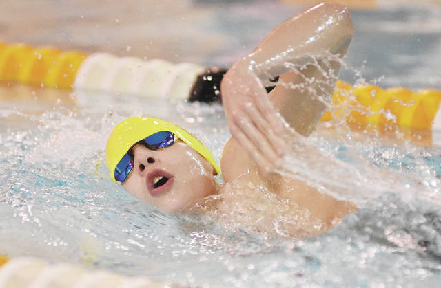 Sidney's Brennan McClain swims the 500 meter freestyle on Sunday at the Sidney-Shelby County YMCA. The Yellow Jackets competed against Botkins and Lehman Catholic. Sidney boys won with 154 to Botkins' 44 and Lehman's 19, and Sidney's girls won with 131 to Botkins' 71 and Lehman's 16.