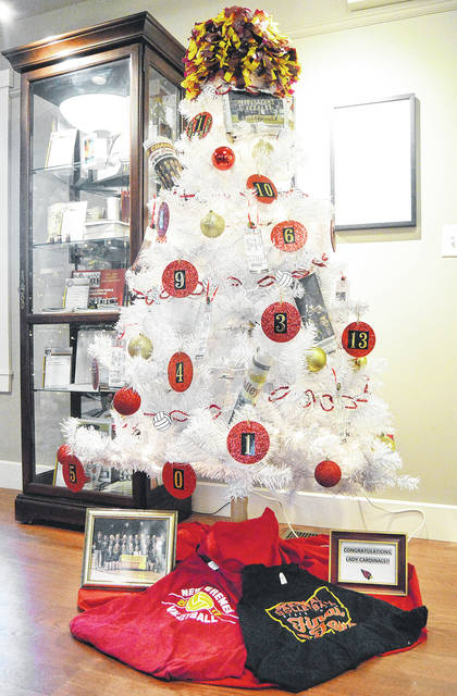 COUNTDOWN TO CHRISTMAS: There are four days until Christmas. A New Bremen volleyball themed Christmas tree stands in the Lock Keepers House in New Bremen Tuesday, Dec. 19. The tree was one of many that make-up the New Bremen Christmas Tree Festival that will continue until the first week of January. Each tree has a different theme. The New Bremen volleyball tree celebrates the team's first state championship title. Ornaments include balls with the player's numbers on them, small paper volleyballs strung around the tree, newspaper articles covering their win, tickets to the game and a pompom on top. The tree was decorated by Mariana Muether and Rianna Paul.