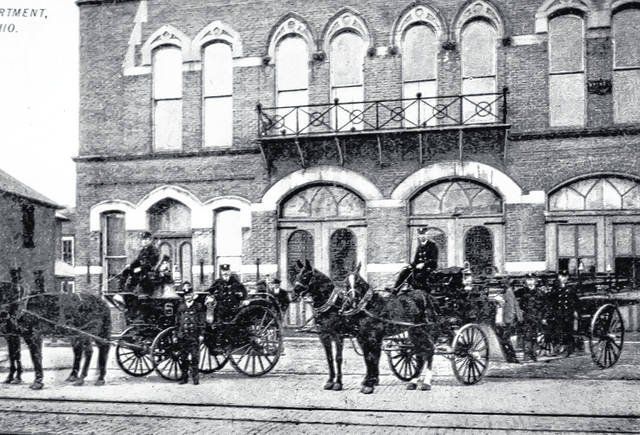 Pictured is a postcard of the Sidney Fire Department, in the Monumentual Building at the northwest corner of Court Street and Ohio Avenue. The card was mailed from Sidney to Quincy in 1907.