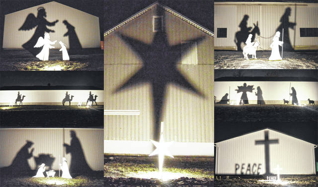 "COUNTDOWN TO CHRISTMAS: There are seven days until Christmas. Barns near Maplewood tell the Christmas story in simple, but deeply moving, silhouettes. Clockwise from top left: The Steenrod barn: ""And the angel said unto her, Fear not, Mary: for thou has found favor with God."" The Poppe barn: ""When they saw the star, they rejoiced with exceeding great joy."" The Noah barn: ""And Joseph also went up from Galilee … unto the city of David … to be taxed with Mary…"" The Davis barn: ""And there were in the same country shepherds abiding in the field…"" The Roach barn: ""…And his name shall be called The Prince of Peace."" The Davis barn: ""…she … wrapped him in swaddling clothes and laid him in a manger."" The Lotz barn: ""There came wise men from the east … to worship him."" All citations from the King James Version of the Bible."