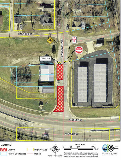 Pictured is an aerial view of the planned closure of the intersection of state Route 47 and Wilkinson Avenue.