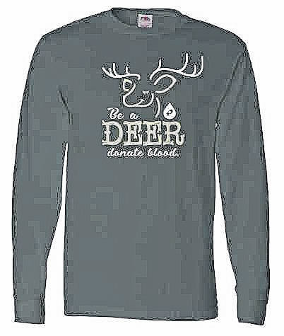 Community Blood Drive's 'Be a Deer – Donate Blood' holiday long-sleeve t-shirt.