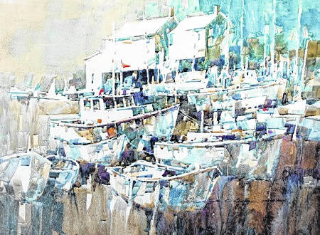"""Mousehole Harbour"" by Frederick C. Graff, of Medina, is on exhibit at the Amos Memorial Public Library in Sidney through Dec. 31. It took the gold award in the Ohio Watercolor Society's 40th annual art exhibition."