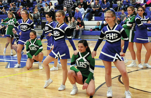 Anna and Fairlawn cheerleaders teamed up for a joint halftime performance during a recent Anna vs Fairlawn basketball game.