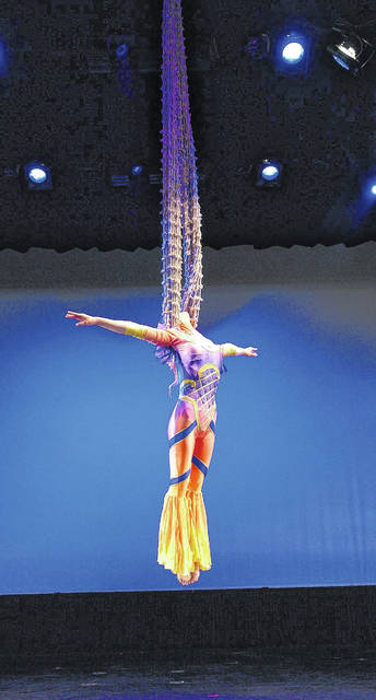 A Cirque D'Or aerealist performs. The show will appear in Dayton in February.