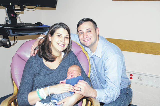 The first baby of 2018 was born at Joint Township District Memorial Hospital in St. Marys on Monday, Jan. 1, 2018 at 4:24 p.m. Elijah John Knouff, son of Shannon and Josh Knouff, of St. Henry, weighed 9 pounds, 7 ounces and was 21 inches long. The maternal grandparents are Jim and Cher Puthoff, of St. Henry. Paternal grandparents are Terry and Cece Kremer, of Celina, and paternal grandfather, Jerry Knouff, deceased. The New Year's baby born at Joint Township District Memorial Hospital receives a case of diapers, wipes, formula, a handmade blanket and $100 from the hospital.