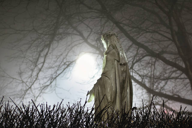 A statue of Mary in front of Lehman Catholic High School stands in a thick fog, Saturday, Jan. 27, that is making for dangerous driving on local roads, especially in the countryside.
