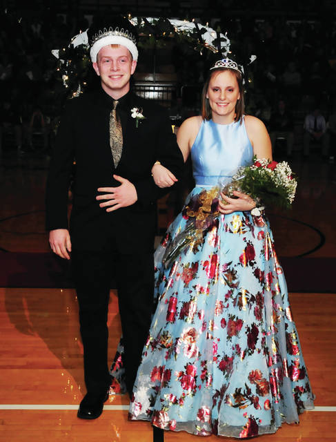 Ethan Butcher, left, 18, son of Dan and Beth Butcher, and Paige Lane, 17, Daughter of Melissa and Mike Lane, were crowned king and queen at the Botkins homecoming Friday, Jan. 19.