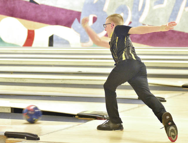 Sidney's Lucas Finke bowls during a match against Piqua on Friday in Sidney. Finke had a 416 series.
