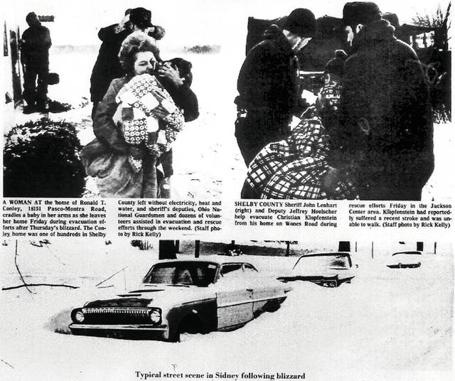 These photos appeared on the front page of the Jan. 30, 1978, Sidney Daily News, following what is now called the Blizzard of '78. The snows came Thursday, Jan. 26, and socked in the entire region. Neighbors helped neighbors and strangers became friends. For the first time in its then 88-year history, the newspaper did not publish for three days. Too few people could get to work to put out a paper, and there was no way to distribute anything that could be printed. The Jan. 30 issue commemorated the blizzard with eight pages of coverage. Forty years later, the high was in the low 50s, Friday.