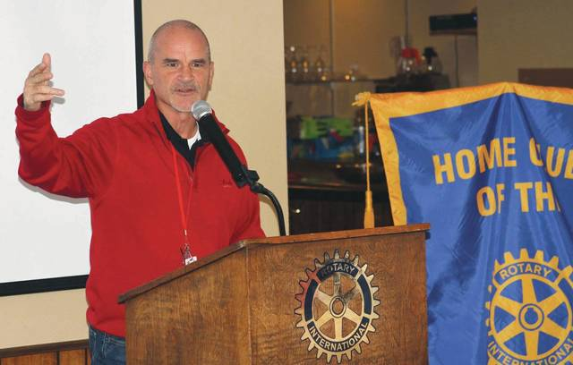 Cincinnati Reds Director of Media Relations Rob Butcher talks during a Rotary Club meeting at the Sidney Moose Country Club on Monday.