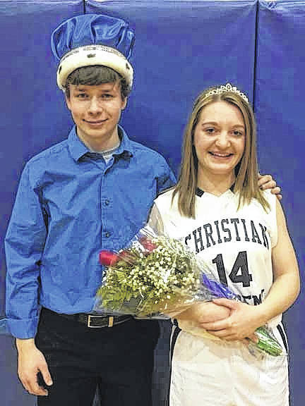 Ben Young, left, son of Amy Young and Tony Young, of Sidney, and Hannah Michael, daughter of Janay and Ted Michael, of Sidney, reigned as king and queen, respectively, over Christian Academy Schools' homecoming, recently.