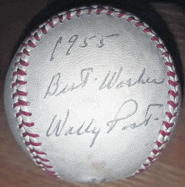 A rare ball signed by Wally Post.