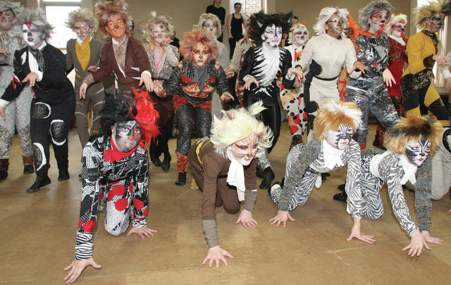 "Members of the cast of ""Cats"" perform a dress rehearsal, recently."