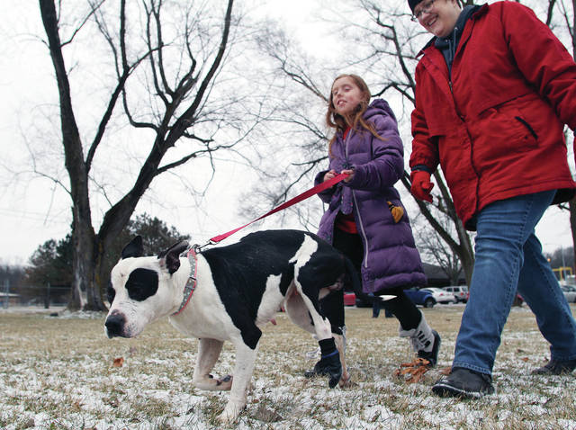 Shelby County Animal Shelter Volunteer Clara Brown, left, 11, of Troy, daughter of Dan and Patty Brown, walks a dog named Izzy up for adoption. Walking with them is SCARF Board Member and volunteer Nicole Laber, of Troy.