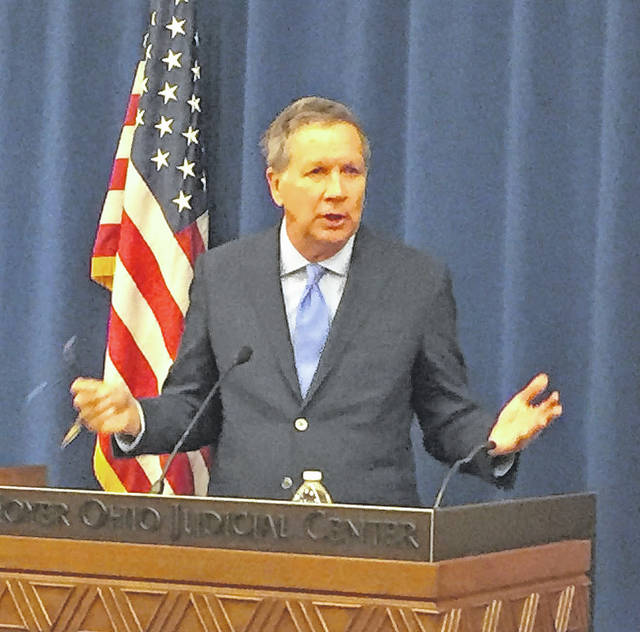 Ohio Governor John Kasich speaks to the press at the 2018 Legislative & Political Preview Session on Wednesday in Columbus.