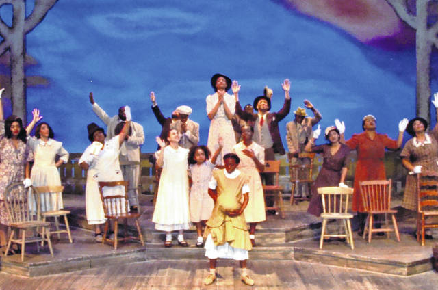 """The cast of """"The Color Purple"""" performs a musical number in the production at La Comedia Dinner Theatre in Springboro. It runs through April 15."""