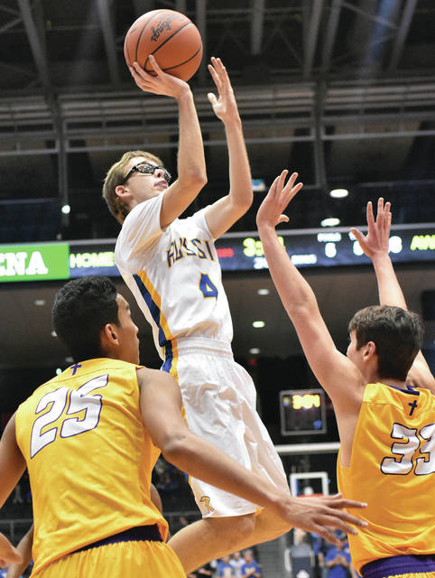 Russia's Mason Dapore shoots as Emmanuel Christian's Adonis Davis, left, and Caleb Wellman defend during a Division IV district final on Friday at UD Arena.