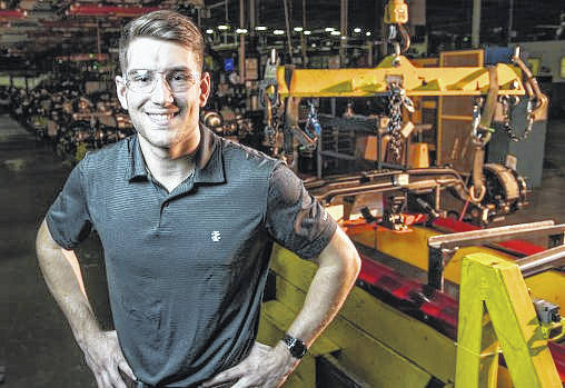 Wright State University mechanical engineering student R.J. McCoy helped design a new axle line at Navistar's truck plant in Springfield as part of an internship.