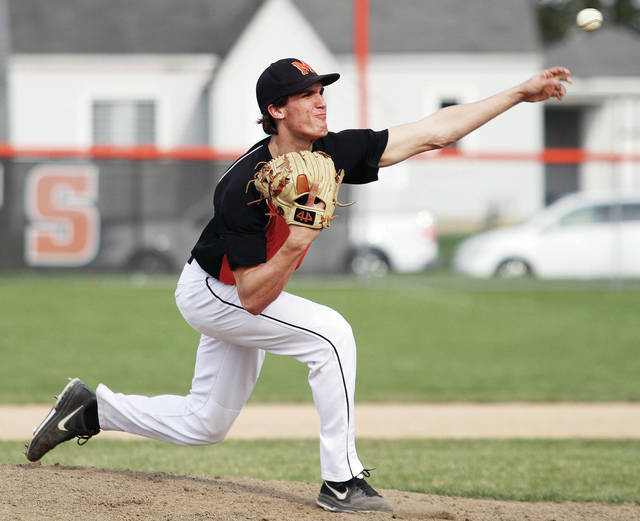Minster's Austin Brown pitches against Anna during a nonconference game on Friday at Minster's Melcher Street Park.