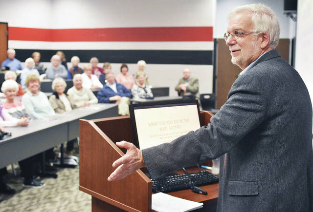 Dennis Turner, of Dayton, talks about his book җhat Did You Do in the War, Sister? How Catholic Nuns in Belgium Defied and Deceived the Nazis in World War Two.Ӡit is based on true events and recounts the story of an order of nuns who were trapped in Belgium during the war. The presentation was held at the Fort Loramie High School Sunday, April 15. Turner was invited by the Fort Loramie Historical Society. Turner had one of his book's nuns come from Fort Loramie. He based her character on three of his cousins who live near Fort Loramie.
