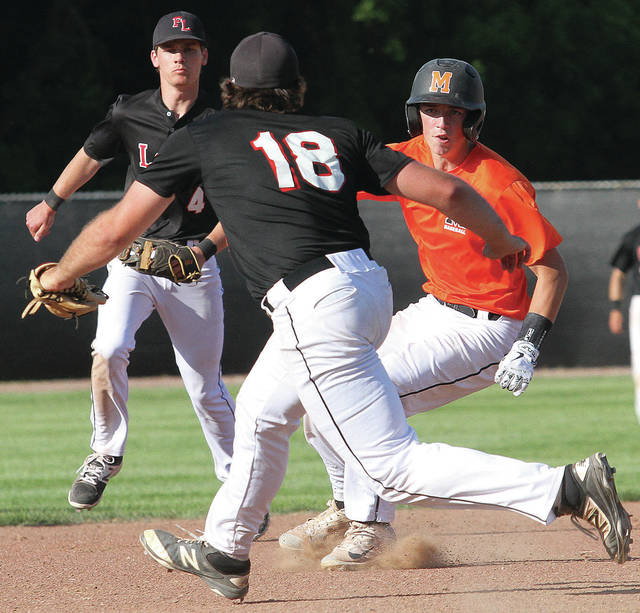 Fort Loramie's CJ Billing cuts off Minster's Austin Shinabery at third base during a Division III regional semifinal on Thursday at Carleton Davidson Stadium in Springfield.