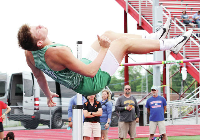 Anna's Austin Fogt competes in the high jump during the Division II regional meet on Saturday at Alexander Stadium in Piqua.