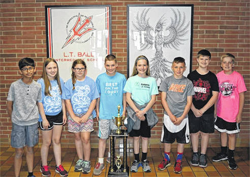 Provided photo L.T. Ball Intermediate School, winner of a Harold C. Shaw Outstanding School Award Trophy at the 2018 State Science Day, held at The Ohio State University, Columbus Ohio. Pictured are left to right, L.T. Ball students Sadhil Mehta, Marissa Hollon, Brynna Sears, Jackson Windeknecht, Audrey Kinninger, Collin Snider, Parker Kabais, Riley Nicholls.
